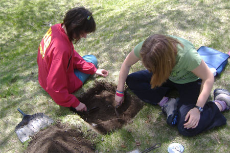Excavating at the Warden's Residence.