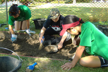 Upper Year participants excavate at the Warden's Residence, 2010.
