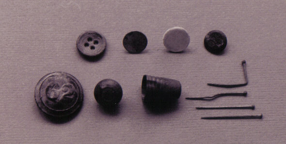 Small objects excavated at the Naval Cottages.