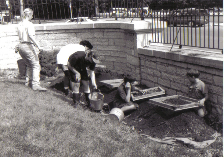 Screening for artifacts at the 1996 Warden's Residence excavations.