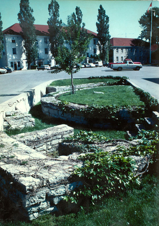 Remains of the southeast bastion - Bastion Saint Louis - and powder magazine excavated in the 1950s by Brigadier General Kitching..