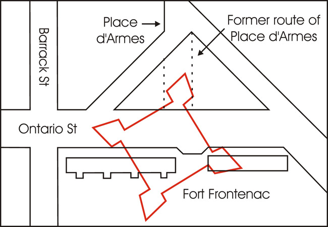 Map showing the location of Fort Frontenac overlaid on the streets of modern Kingston.