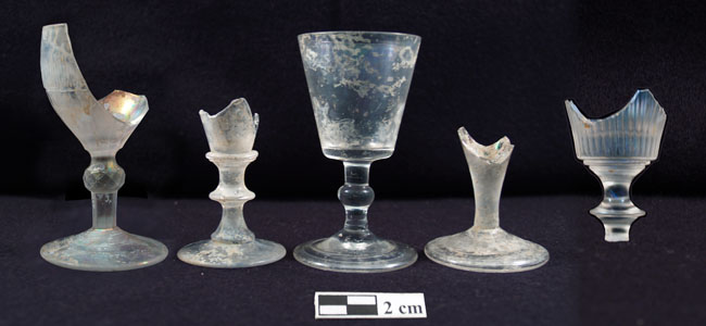 Stemware excavated from the tavern privy (Photo by Rachel Brooks).
