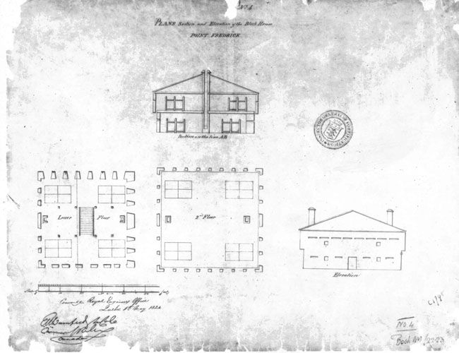Plan as built of the 1812 Blockhouse at Point Frederick (LAC 4628).