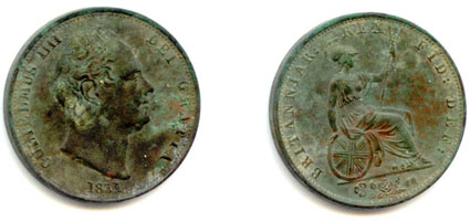 Copper halfpenny from the reign of William IV (1831).