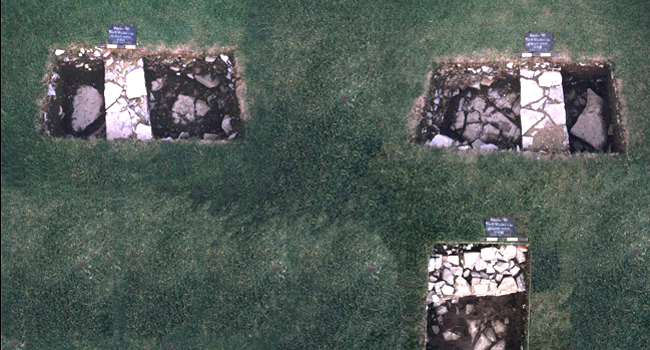 "Overhead view of the Royal Artillery Barracks excavated during the 2003 ""Can You Dig It?""© program."