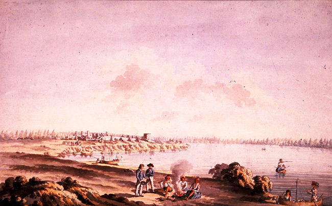 View of the ruins of the fort at Cataraqui, June 1783 by James Peachey. National Archives of Canada - C2031.