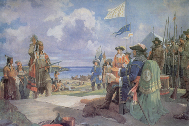 Compte Frontenac meeting with the Iroquois at Fort Frontenac.