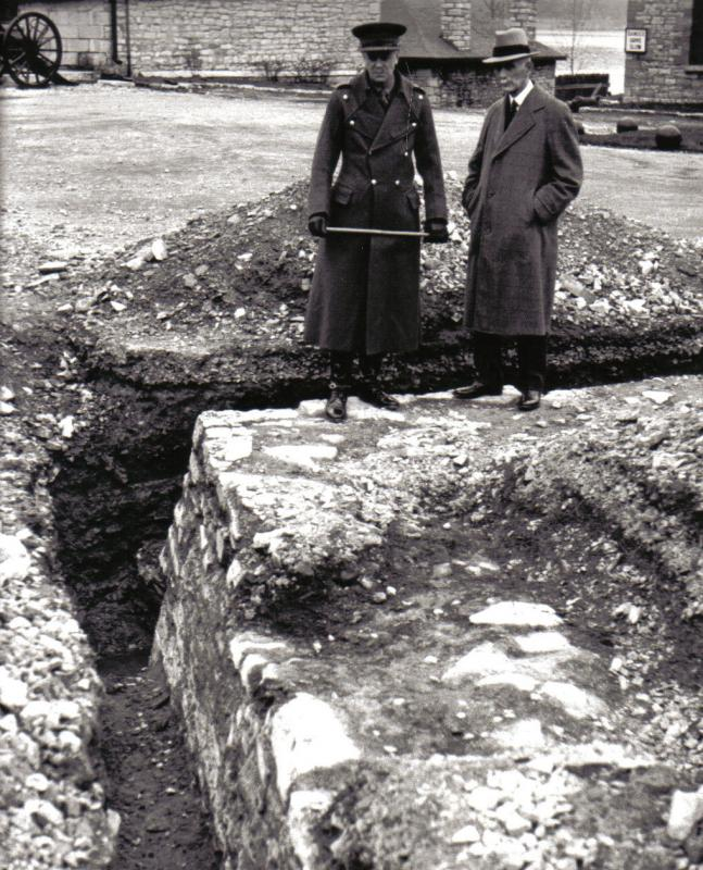 Photograph of Colonel Haggarty taken during his visit to the Fort Frontenac Excavations.