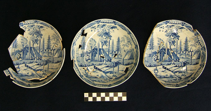 Pearlware saucers with Blue Transfer Print decoration