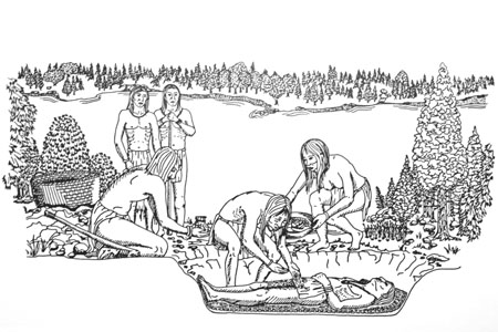 Preparation of a grave site.