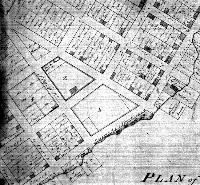 "Detail of a plan of 1810 showing ""h"" as ""Market Place Reservation"" (LAC 3888)."