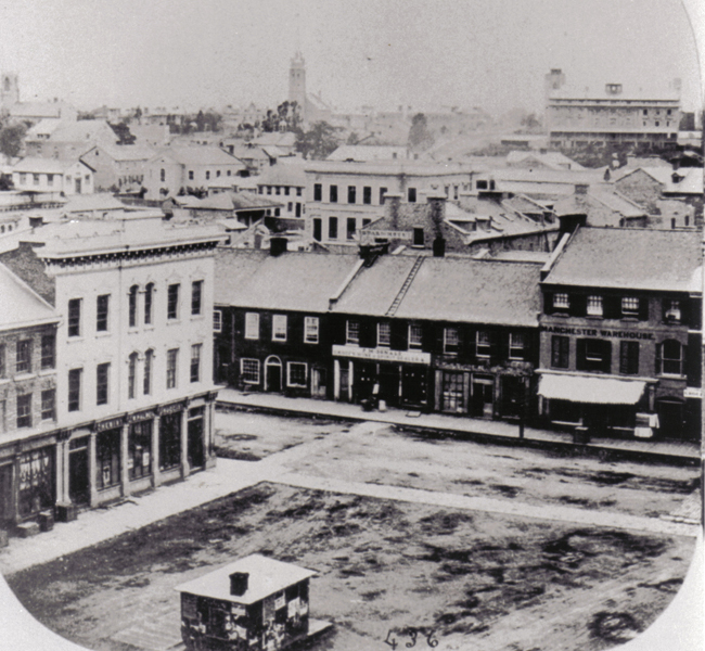 Market Square from the upper floor of City Hall, 1859 (Queen's University Archives KPC 1859 V23).