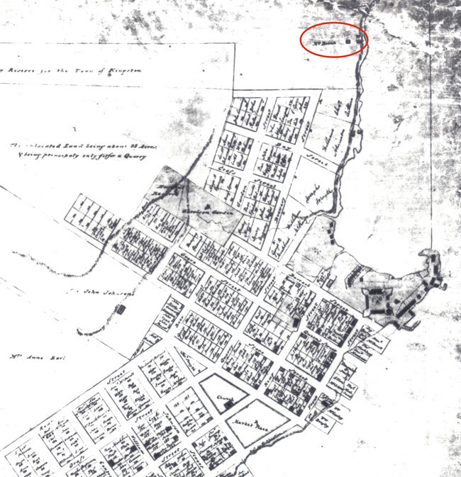 Historic map of Kingston showing Molly Brant's property.